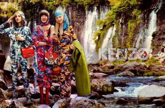 Lindsey Wixson, Kiko Arai and Hunter Schafer for Kenzo Fall 2019.