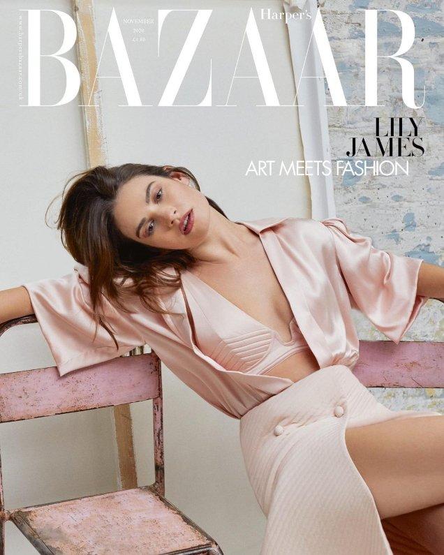 UK Harper's Bazaar November 2020: Lily James by Agata Pospieszynska